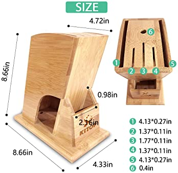Bamboo Knife Block- Universal Knife Storage with 6 Slots Knives Holder Organizer Stand(Knife not includes)