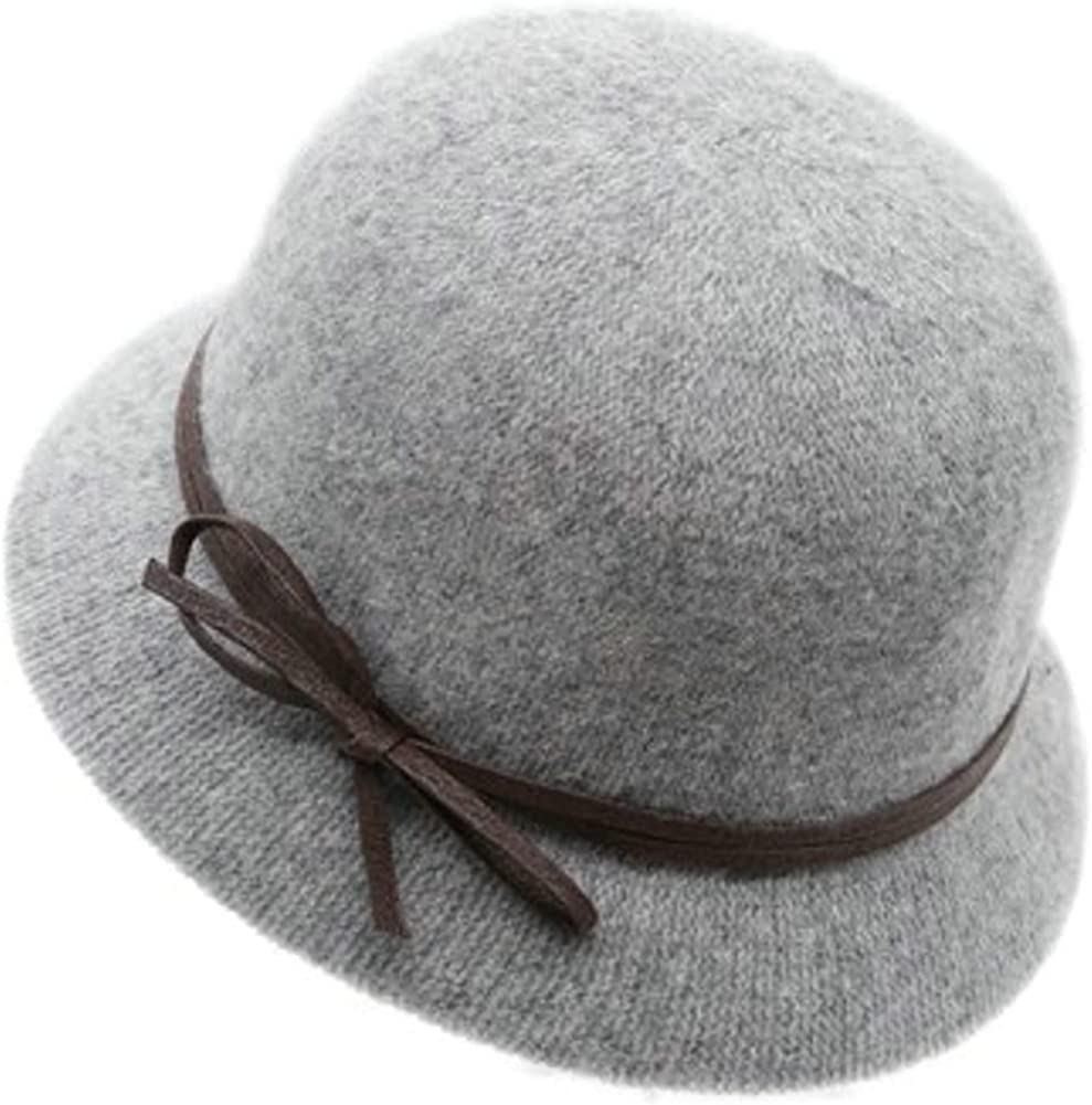 Women Vintage Bowler Felt Winter Hat Warm Fedora Hat Foldable Thick Cloche Bucket Hat