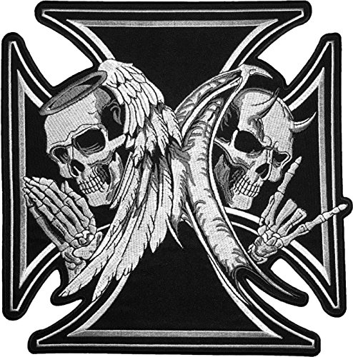 [Super Large Size] Papapatch Skull Devil and Angel Wings Black Cross Ghost Biker Rider Motorcycle Jacket Vest Costume Embroidered Sew on Iron on Patch (IRON-DEVIL-ANGEL-MALT-SUPER-LARGE)