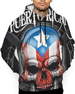 Puerto Rico Skull Men's 3D Printed Drawstring Pockets Pullover Hoodie Hooded Sweatshirt