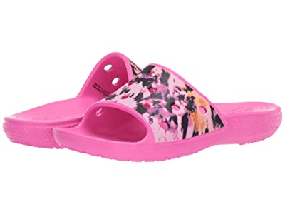 Crocs Kids Classic Crocs Printed Slide (Little Kid/Big Kid) (Electric Pink) Kid