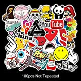 Zorara Sticker Graffiti Aufkleber ,100 Stück Autoaufkleber Hippie Aufkleber Bombe wasserdicht , Laptop Auto Motorrad Fahrrad Skateboard Gepäck(Mehrfarbig)