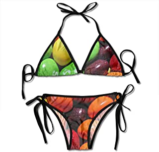 Skittles Sexy Bikini Swimsuits Womens Bathing Suit Adjustable Swimwear for Women