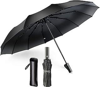 折りたたみ傘 ワンタッチ 自動開閉 大きい 頑丈な12本骨 メンズ 耐強風 超撥水 210T高強度グラスファイバー 梅雨対策 晴雨兼用 二重構造 ビッグサイズ 傘カバー付き (ブラック)