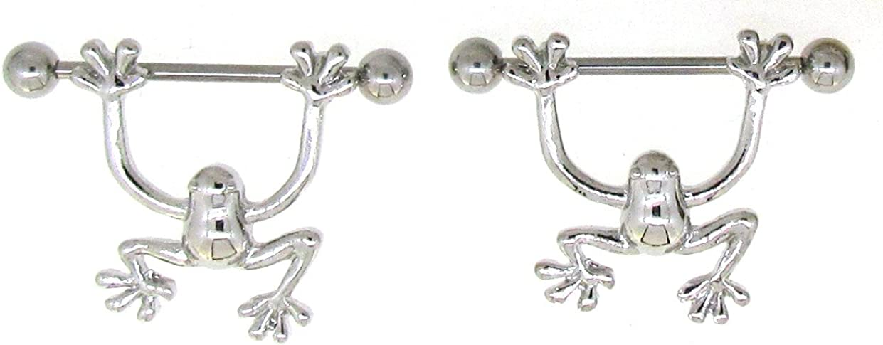 Nipple Ring Bars Frogs Body Jewelry Pair 14 Gauge 9/16'''' BAR Pair