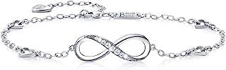 Billie Bijoux Womens 925 Sterling Silver Infinity Anklet Bracelet Endless Love Symbol Charm Adjustable Large Bracelet, Gift for Women Mother's Day