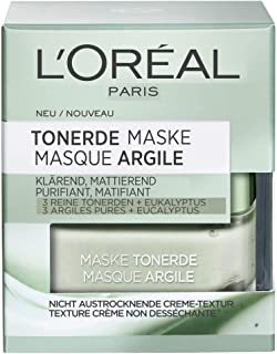 L´ORÉAL PARIS Tonerde Maske 50ml, klärend, mattierend, 3 Reine Tonerden  Eukalyptus, entfernt Unreinheiten und verfeinert die Poren, Grüne Klärende Maske