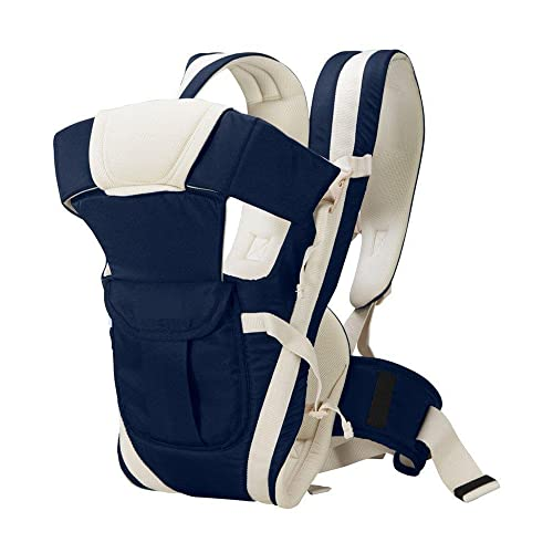 Chinmay Kids 4-in-1 Polycotton Adjustable Baby Carrier Sling Backpack (Blue, 0-30 Months)