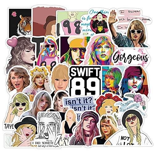 estéticas 50 unids Taylor Alison Swift Pegatinas Dibujos Animados Anime Singer Impermeable Pegatina Linda Equipaje Equipaje Papelería Piedra Graffiti Niños Juguetes (Color : Singer 50pcs)