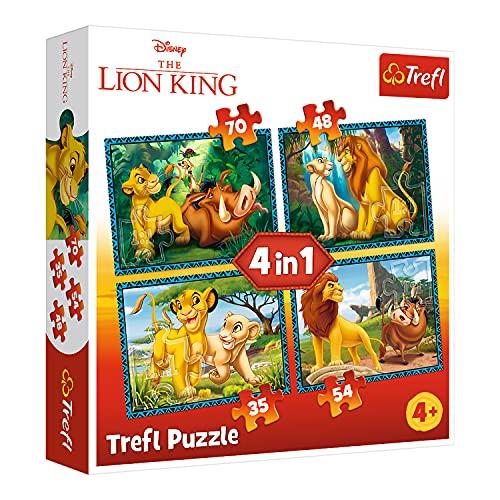 Trefl 34317 Der König der Löwen und Freunde, Disney the Lion King von 35 bis 70 Teilen, 4 Sets, für Kinder ab 4 Jahren Puzzle, Mehrfarbig