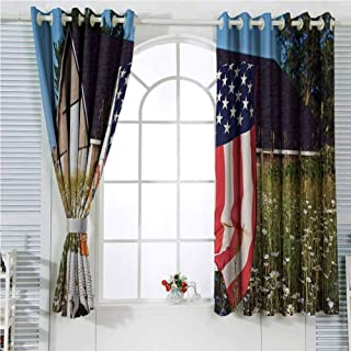 Americana Decor Collection Rustic Curtains for Living Room Green Apples and Daisies on Chair with USA Flag Bouquet Countryside Summer Picture Living Room Decor Blackout Shades W107 x L84 Inch Cobalt