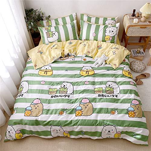 Juego de ropa de cama para adolescentes, diseño de gato, 100% algodón natural, juego de cama Queen Green Stripe funda de edredón para niños y niños, 3 piezas, reversible, cómodo, transpirable (Full/Queen, gatos)