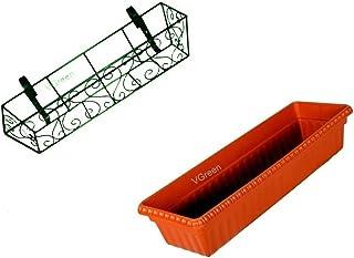 VGreen Garden Store Garden Balcony Railing Metal Planter with Suitable Pot (Green)