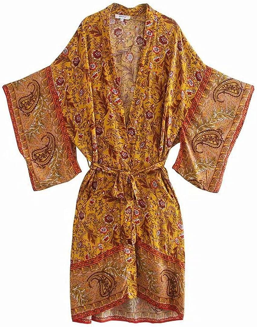 Gorgeous Women Floral Print Long Kimono Tie Green Cardigan Shirt Bow 25% OFF