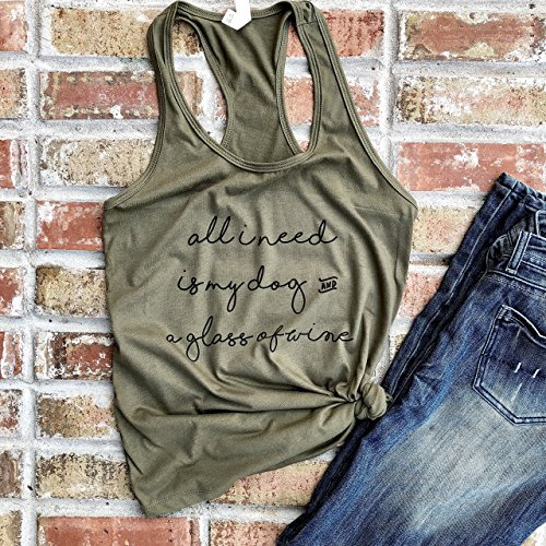 Dog Lover Tank Top - All I Need is My Dog and a Glass of Wine - Dog and Wine Lover Tank Top