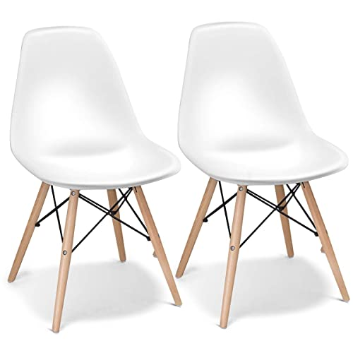 Giantex Set of 2 Mid Century Armless Modern Style Plastic Seat Wood Dowel  Legs for Bedroom - Mid Century Modern Patio Furniture: Amazon.com
