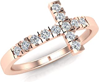 0.24 ct tw Sideways Cross Diamond Ring 14K Gold (G,SI)