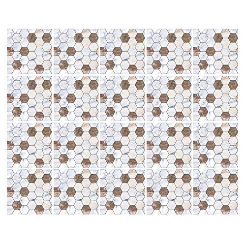 decalmile 20 Piezas Pegatinas de Azulejos 15x15cm Blanco y Marrón Hexágono Mosaico Adhesivo Decorativo para Azulejos Cocina Baño Decoración