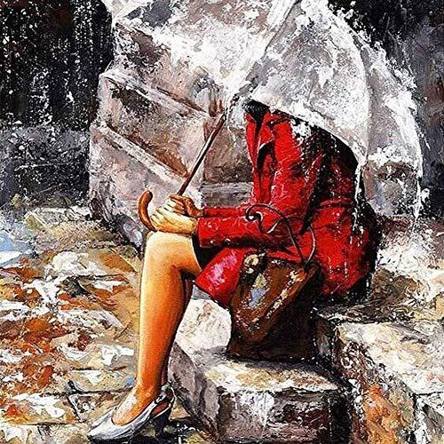Queta DIY Kit de pintura de diamantes, Kit de manualidades en punto de cruz, Taladro completo, Decoración de pared, Artesanía para adultos, la chica con paraguas(16X12inch/40X30CM)
