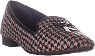 CC35 Femmiie Front Bow Slip On Loafer Flats, Navy/Red Combo