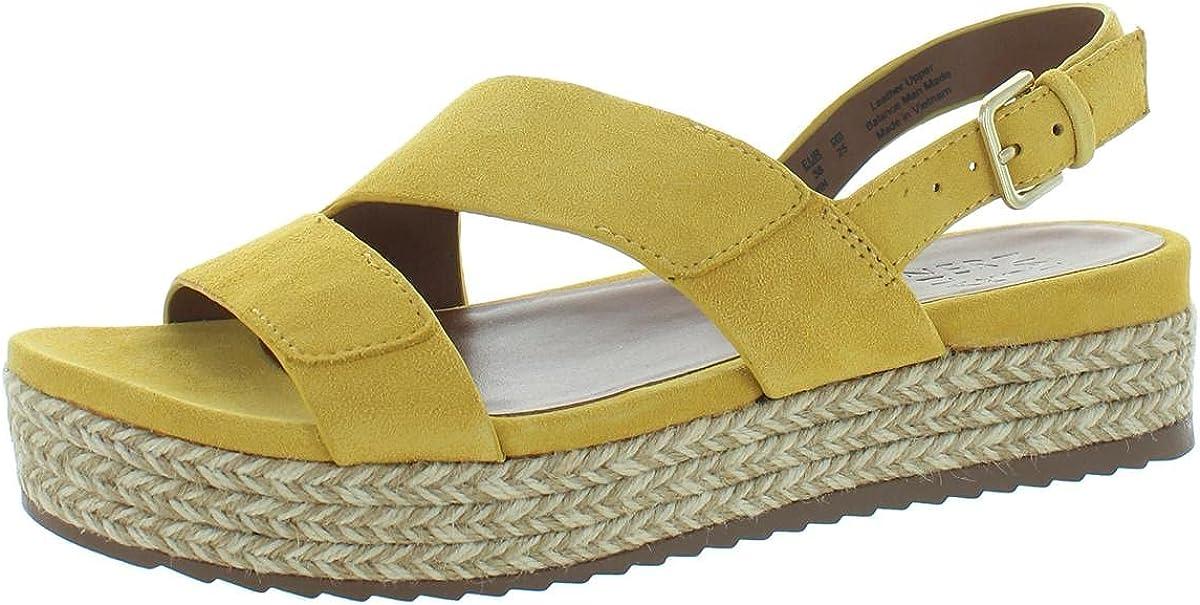 Naturalizer Womens Jasmin Suede Ankle Strap Espadrilles Yellow 8.5 Medium (B,M)