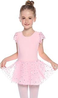 Maillot Ballet Danza niña Tutu algodón 5-16 años,Elástico Manga Corta Gimnasia Ritmica con Falda,Leotardo Body Clásico