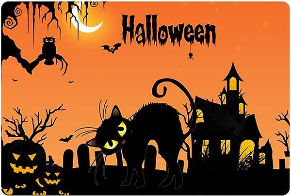 Strong Cat 16 X 24 Inch Halloween Theme Indoor And Outdoor Felt Doormat Halloween Decoration Pumpkin Owl Pattern