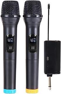 Queenser Microfone Karaokê Profissional UHF Dual Channel Dinâmico Sem Fio Microfone Portátil Sem Fio Portátil com Receptor...