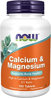 NOW Supplements, Calcium & Magnesium 2:1 Ratio, High Potency, Supports Bone Health*, 100 Tablets