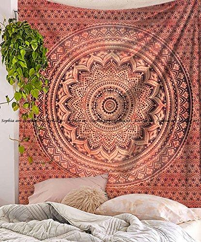 Sophia Art Meistverkaufter roter Ombre-Mandala-Wandteppich im Ombre-Stil, Hippie-/Bohemian-Stil, Wandbehang, Ombre