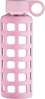 Origin Best BPA-Free Borosilicate Glass Water Bottle with Fun Square Silicone Sleeve and Leak Proof Lid - Dishwasher Safe