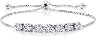 925 Sterling Silver Forever Classic Round Created Moissanite by Charles & Colvard Women's Tennis Bracelet 2.31ct (DEW)