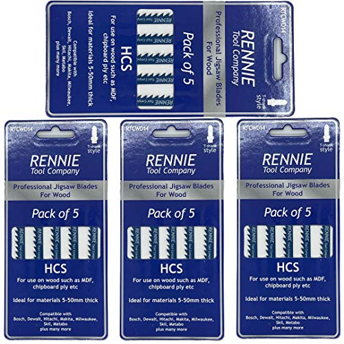 Pack Of 20 Rennie Tools - Straight and Fast Cuts Jigsaw Blades For Wood Compatible With Bosch Dewalt Makita Milwaukee And More