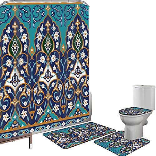 Juego de cortinas baño Accesorios baño alfombras marroquí Alfombrilla baño Alfombra contorno Cubierta del inodoro Ottoman Folkloric Art Inspired Abstract Edad Media Renacimiento Artístico,Azul Rojo Am