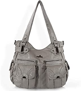 Sponsored Ad - Women Handbags Shoulder Bags Washed Leather Satchel Tote Bag Mutipocket Purse