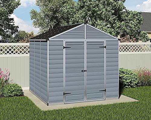 Outdoor-Metall-Garten-Hüttenhütten-Garten-Werkzeug-Speicher- und -gründung und -fundament und -belüftung,Grey-8 * 8