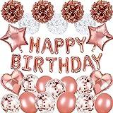 Birthday Decorations party Supplies, Rose Gold Happy Birthday Banner, 7 Pom Poms Flowers, 15 Birthday Balloons, Girls Women Birthday Party