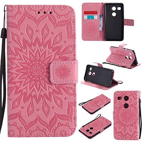 Jeewi Hülle für LG/Google Nexus 5X Hülle Handyhülle [Standfunktion] [Kartenfach] [Magnetverschluss] Tasche Etui Schutzhülle lederhülle flip case für LG Nexus 5X - JEKT031487 Rosa