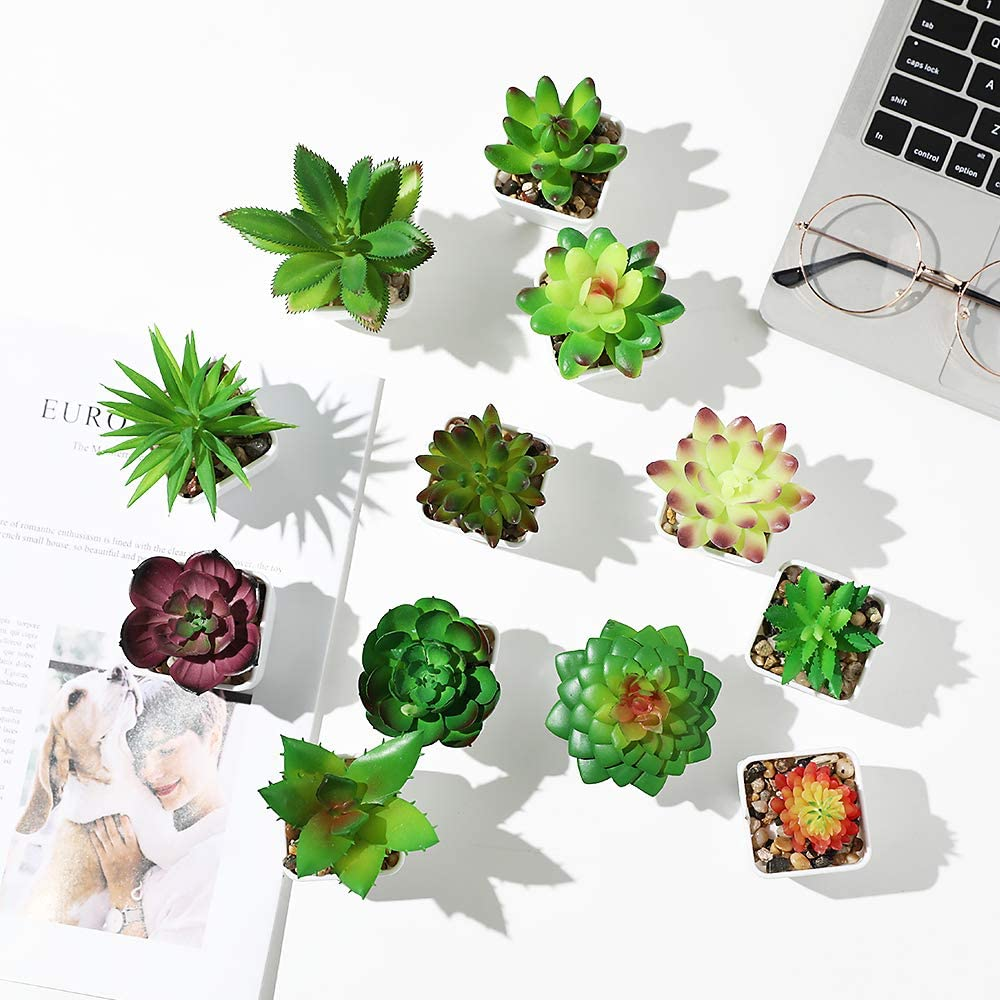 Veryhome Fake Succulent Plants Artificial Faux Succulents with Plastic Mini Potted Fake Succulents for Flower Arrangements