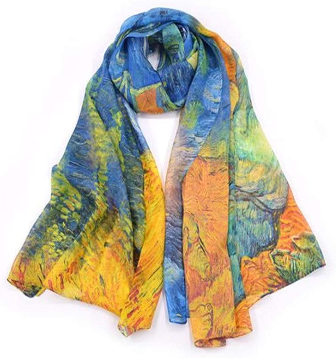 Women's Silk Silk Twill Silk Oversized Scarf Thin Section Rectangular Inkjet Sunshade Beach Towel Cold Weather Scarves (color   C5, Size   180  110cm)
