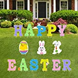 Partyprops 14Pcs Easter Yard Signs Outdoor Lawn Decorations - Happy Easter Yard Signs with Stakes - Easter Outdoor Decorations - Funny Bunny and Egg Corrugated Yard Signs Decor - Easter Outdoor Sign