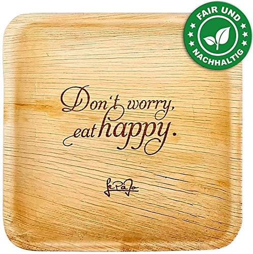LePaJo Einwegteller 25 Stück 26 x 26 cm, 100{d0dec91f9a5c193c86cca397f7adcad3a38ab9e659b7f181602bcd2d26d49ed9} biologisch abbaubar, nachhaltig und umweltfreundlich, Bio Palmblatteller - Don't Worry - eat Happy.