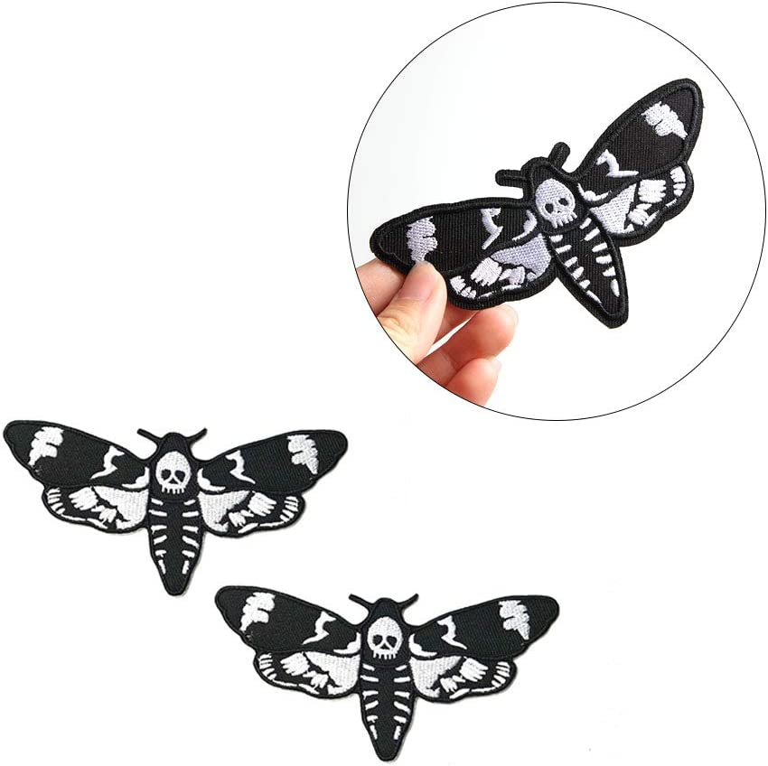 Acxico Low price 2Pcs Black and White Moth Head Max 52% OFF Patch Deaths Skull Iron-On