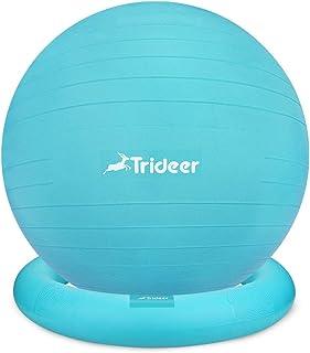 Trideer バランスボール(リング付) ターコイズ/55㎝ ヨガボール ピラティスボール 耐荷重500㎏ 厚い アンチバースト 滑り止め ダイエット フィットネス ストレス解消 マッサージ 妊娠ボール ヨガ 椅子 腰痛防止 関節保護 (ターコイズ)