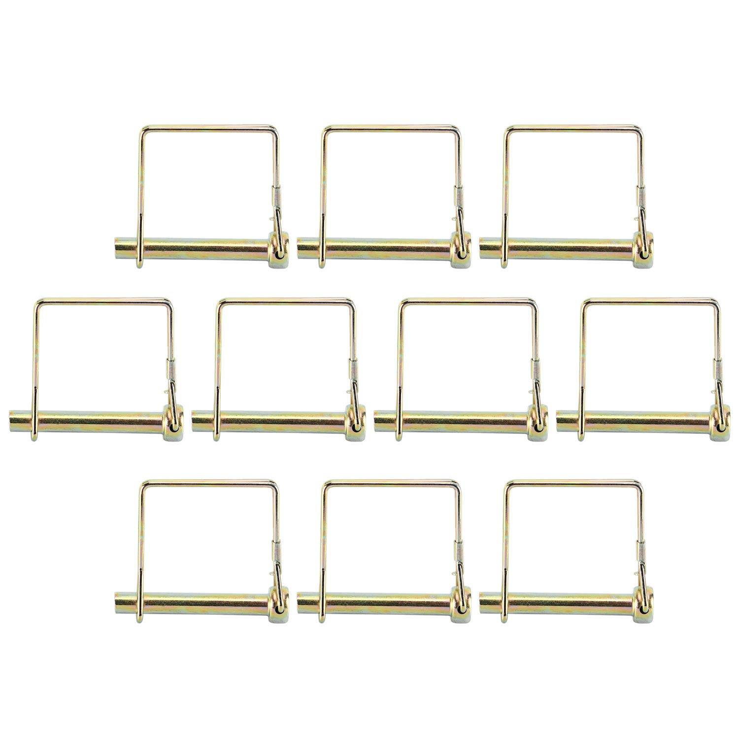 Stainless Steel PTO Square Shaft Locking Trailer Hitch Pin 5//16 x 2-1//4 Pack of 10