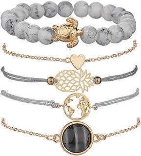 VONRU Beaded Bracelets for Women - Adjustable Charm Pendent Stack Bracelets for Women Girl Friendship Gift Rose Quartz Bracelet Links with Pearl Gold Plated