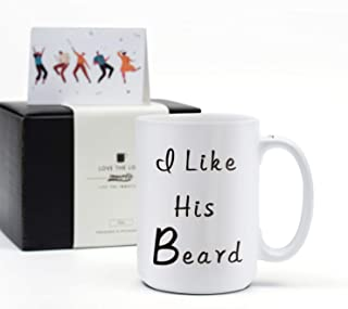 Couples Wedding Gifts Funny Mugs- I Like His Beard - Engagement, Anniversary, Wedding, Unique Present for Him, Bride, Husband, Mr -15Oz Coffee Cups