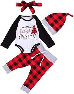 ملابس عيد الميلاد للأطفال الأولاد 4 قطع مجموعة أزياء حديثي الولادة طويلة الأكمام مطبوعة رومبير + سروال منقوش + عصابة رأس +...