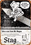 FANGJIA Letrero de metal retro de 1958 con texto en inglés 'Stag Beer Mr. Mago', de aluminio, para decoración de pared, para bares, restaurantes, cafeterías, pubs y café, 20 x 30 cm