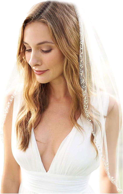 Fenghuavip Short Wedding Veil Beaded Edge 1 Tier Fingertip Length for Bride with Comb
